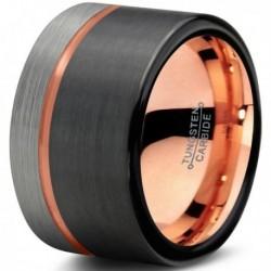 Вольфрамовое Матовое Обручальное (свадебное) кольцо 12мм с покрытием 18к розовым золотом CJ709-B-H-12-A