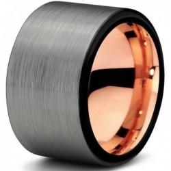 Вольфрамовое Матовое Обручальное (свадебное) кольцо 12мм с покрытием 18к розовым золотом CJ703-B-12-A