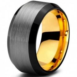 Вольфрамовое Матовое Обручальное кольцо 10мм с покрытием из желтого золота CJ708-Y-B-10-A