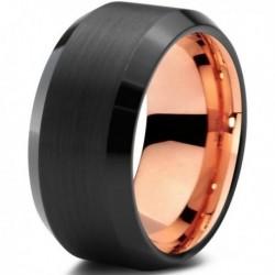 Вольфрамовое Черное Матовое Обручальное (свадебное) кольцо 10мм (мужское, женское) с покрытием 18к розовым золотом CJ708-10-A