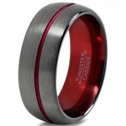 Вольфрамовое Матовое Обручальное (свадебное) кольцо 8мм (мужское, женское) цвет Gunmetal, красная линия по центру CC1329-C100-A