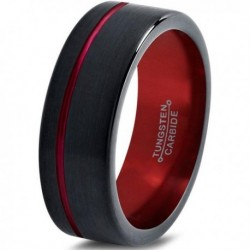 Вольфрамовое Матовое Обручальное (свадебное) кольцо 8мм (мужское, женское) черно красное со смещенной линией CJ8844-A