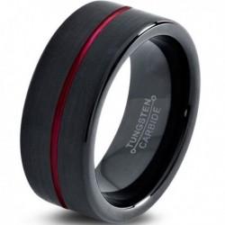 Вольфрамовое Матовое Обручальное (свадебное) кольцо 8мм (мужское, женское) черное с красной линией по центру CJ8807-A