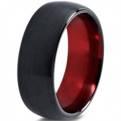 Вольфрамовое Матовое Обручальное (свадебное) кольцо 8мм (мужское, женское) черно красное CC231-C100-A