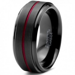 Вольфрамовое Матовое Обручальное (свадебное) кольцо 8мм (мужское, женское) черное с красной линией по центру 8006-A