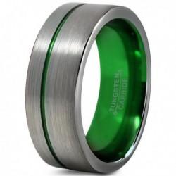 Вольфрамовое Матовое Обручальное (свадебное) кольцо 8мм (мужское, женское) со смещенной зеленой линией CC905-C8-A