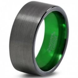 Вольфрамовое Матовое Обручальное (свадебное) кольцо 8мм (мужское, женское) цвет Gunmetal, зеленое внутри CC913-C8-A