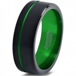 Вольфрамовое Матовое Обручальное (свадебное) кольцо 8мм (мужское, женское) черно зелёное со смещенной линией CJ8825-A