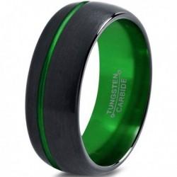 Вольфрамовое Матовое Обручальное (свадебное) кольцо 8мм (мужское, женское) черно зелёное со смещенной линией CJ8822-A