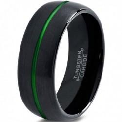 Вольфрамовое Матовое Обручальное (свадебное) кольцо 8мм (мужское, женское) черное с зеленой линией по центру CJ8835-A