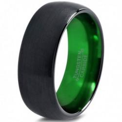 Вольфрамовое Матовое Обручальное (свадебное) кольцо 8мм (мужское, женское) черно зелёное