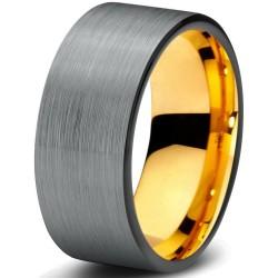 Вольфрамовое Матовое Обручальное (свадебное) кольцо 8мм (мужское, женское) с покрытием 18к желтым золотом CJ703-Y-B-9-A