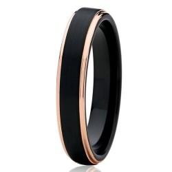 Вольфрамовое Матовое Обручальное (свадебное) кольцо 4мм (мужское, женское) с покрытием 18к розовым золотом CJ702-4