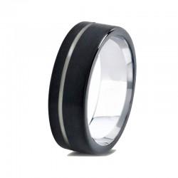 Вольфрамовое Матовое Обручальное (свадебное) кольцо 6мм (мужское, женское) черное со смещенной линией CC8813-S