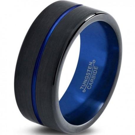 Вольфрамовое Матовое Обручальное (свадебное) кольцо 8мм (мужское, женское) черно синее , линия по центру