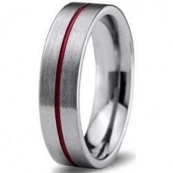Вольфрамовое Матовое Обручальное (свадебное) кольцо 6мм (мужское, женское) с красной линией по центру
