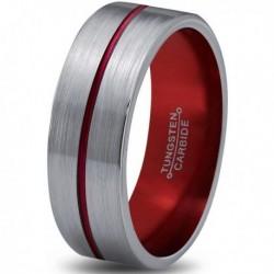 Вольфрамовое Матовое Обручальное (свадебное) кольцо 6мм (мужское, женское)с красной линией по центру