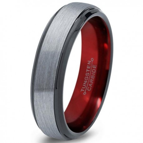 Вольфрамовое Матовое Обручальное (свадебное) кольцо 6мм (мужское, женское), красное внутри