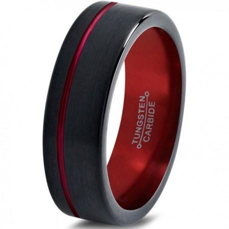 Вольфрамовое Матовое Обручальное (свадебное) кольцо 6мм (мужское, женское) черно красное со смещенной линией