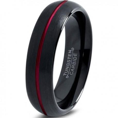 Вольфрамовое Матовое Обручальное (свадебное) кольцо 6мм (мужское, женское) черно красное , линия по центру