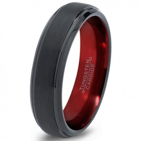Вольфрамовое Матовое Обручальное (свадебное) кольцо 6мм (мужское, женское) черно красное