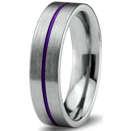 Вольфрамовое Матовое Обручальное (свадебное) кольцо 6мм (мужское, женское) с фиолетовой линией по центру