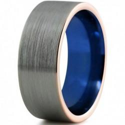 Вольфрамовое Матовое Обручальное (свадебное) кольцо 8мм (мужское, женское)с покрытием 18к розовым золотом, синее внутри