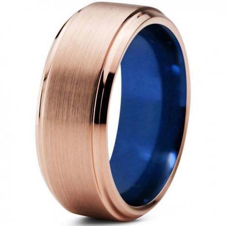 Вольфрамовое Матовое Обручальное (свадебное) кольцо 8мм (мужское, женское) с покрытием 18к розовым золотом, синее внутри