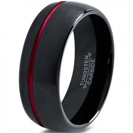 Вольфрамовое Матовое Обручальное (свадебное) кольцо 8мм (мужское, женское)черное со смещенной красной линией