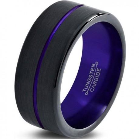 Вольфрамовое Матовое Обручальное (свадебное) кольцо 8мм (мужское, женское) черно фиолетовое , линия по центру