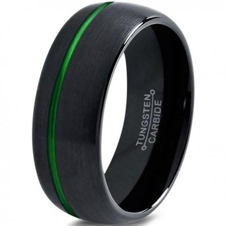 Вольфрамовое Матовое Обручальное (свадебное) кольцо 8мм (мужское, женское) черное со смещенной зеленой линией