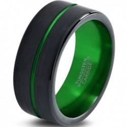 Вольфрамовое Матовое Обручальное (свадебное) кольцо 8мм (мужское, женское) черно зеленое , линия по центру
