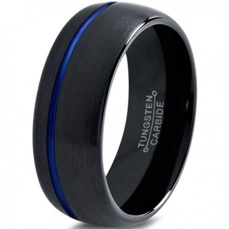 Вольфрамовое Матовое Обручальное (свадебное) кольцо 8мм (мужское, женское) черное со смещенной синей линией