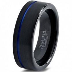 Вольфрамовое Матовое Обручальное (свадебное) кольцо 6мм (мужское, женское) черное с синей смещенной линией