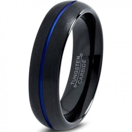 Вольфрамовое Матовое Обручальное (свадебное) кольцо 6мм (мужское, женское) черное с синей линией по центру