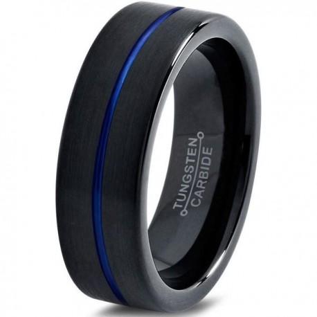 Вольфрамовое Матовое Обручальное (свадебное) кольцо 6мм (мужское, женское) черно синее , линия по центру
