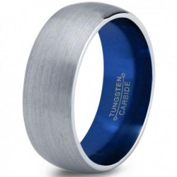 Вольфрамовое Матовое Обручальное (свадебное) кольцо 8мм (мужское, женское) с синим навылением