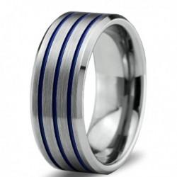 Вольфрамовое Матовое Обручальное (свадебное) кольцо 8мм (мужское, женское) с тройной синей линией