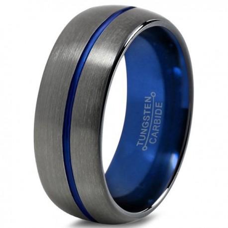 Вольфрамовое Матовое Обручальное (свадебное) кольцо 8мм (мужское, женское), цвет Gunmetal, синее внутри