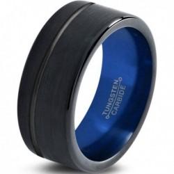 Вольфрамовое Матовое Обручальное (свадебное) кольцо 8мм (мужское, женское) черно синее со смещенной линией