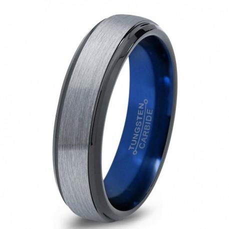 Вольфрамовое Матовое Обручальное (свадебное) кольцо 6мм (мужское, женское)с синим навылением