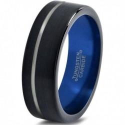 Вольфрамовое Матовое Обручальное (свадебное) кольцо 6мм (мужское, женское) черно синее со смещенной линией