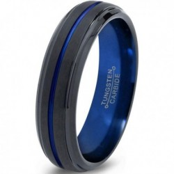 Вольфрамовое Матовое Обручальное (свадебное) кольцо 6мм (мужское, женское) черно синее