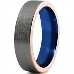 Вольфрамовое Матовое Обручальное (свадебное) кольцо 6мм (мужское, женское) с покрытием 18к розовым золотом, синее внутри