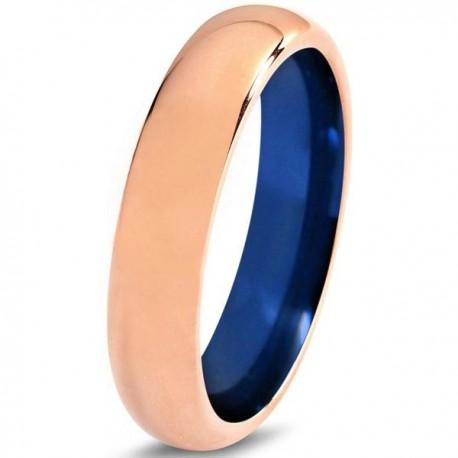 Вольфрамовое Обручальное (свадебное) кольцо 6мм (мужское, женское)с покрытием 18к розовым золотом , синее внутри