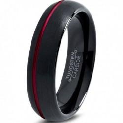 Вольфрамовое Матовое Обручальное (свадебное) кольцо 6мм (мужское, женское)черное с красной смещенной линией