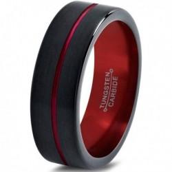 Вольфрамовое Матовое Обручальное (свадебное) кольцо 6мм (мужское, женское)черно красное , линия по центру