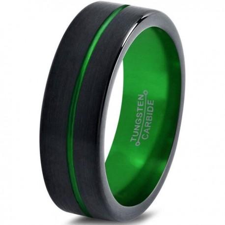 Вольфрамовое Матовое Обручальное (свадебное) кольцо 6мм (мужское, женское) черно зеленое , линия по центру