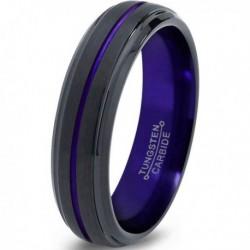 Вольфрамовое Матовое Обручальное (свадебное) кольцо 6мм (мужское, женское) черно фиолетовое , линия по центру