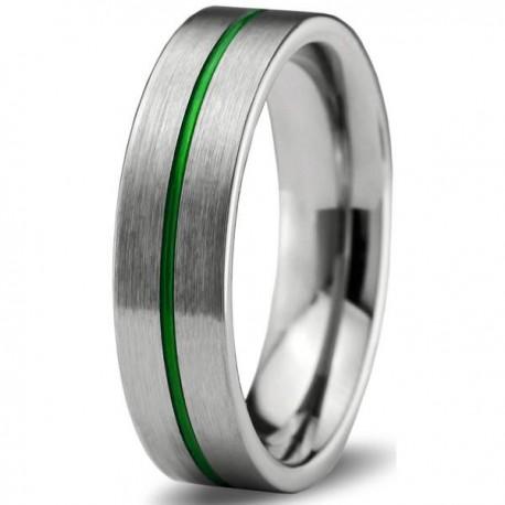 Вольфрамовое Матовое Обручальное (свадебное) кольцо 6мм (мужское, женское), зеленая линия по центру
